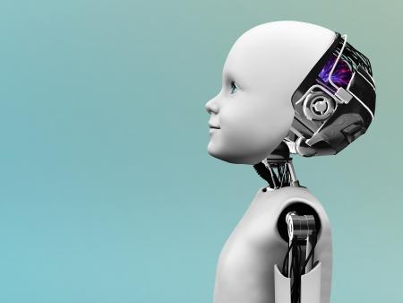 Het profiel van een kind robot staren in de toekomst.