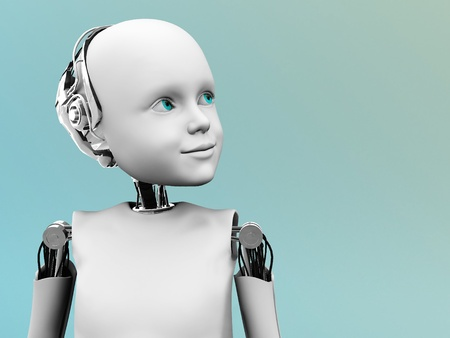 futuristic girl: A robot child gazing into the future.
