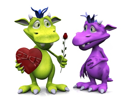 A cute friendly cartoon monster holding a rose in one hand and a heart shaped box of chocolate in the other. He is giving the rose to a girl monster. White background.