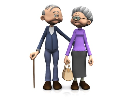 A sweet old cartoon man and woman smiling and looking at eachother. White background. photo