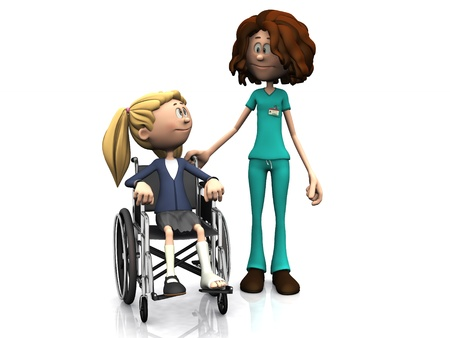 casts: A cartoon nurse standing beside a young girl sitting in a wheelchair. The girl has a broken leg. White background.