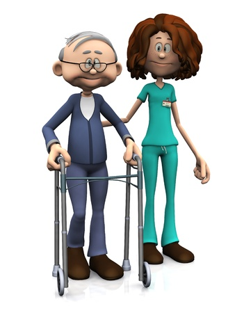 A cartoon nurse helping an elderly man with walker. White background.