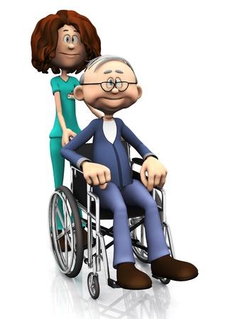 휠체어에 노인을 돕는 만화 간호사. 흰색 배경입니다.