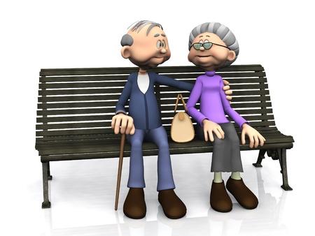 pensionado: Un hombre dulce, de dibujos animados de edad y una mujer sentados en un banco, sonriendo y mirando entre si en el fondo blanco
