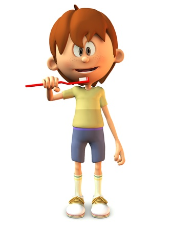 A young, smiling cartoon boy holding a toothbrush, ready to brush his teeth  White background  photo