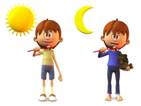 A young, smiling cartoon boy holding a toothbrush, ready to brush his teeth in the morning and in the evening  White background