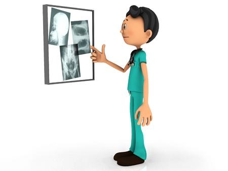 enfermero caricatura: Un joven m�dico de dibujos animados examinar las placas de rayos x sobre un fondo blanco tablero