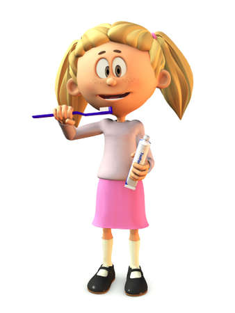 A young, smiling cartoon girl holding a toothbrush and toothpaste, ready to brush her teeth  White background  photo