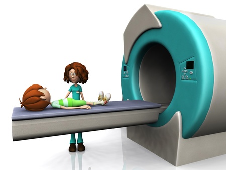 radiology: A young cartoon boy getting ready for a Magnetic resonance imaging scan, MRI. A nurse is beside him. White background.
