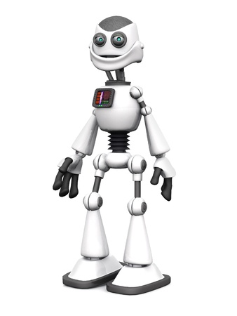 A white cartoon robot standing and smiling. White background. photo