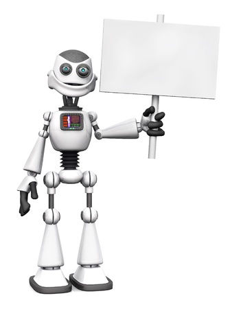 A white smiling cartoon robot holding a blank sign. White background. photo