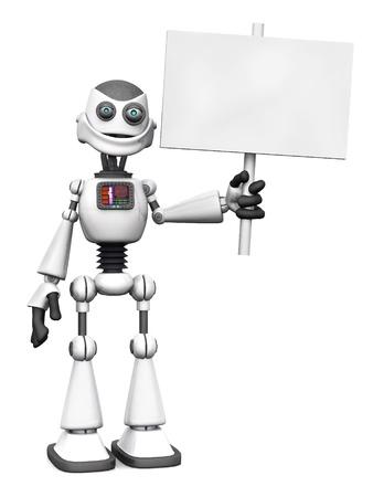 robot caricatura: Un robot blanco sonriente de dibujos animados con un cartel en blanco. Blanco fondo. Foto de archivo