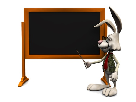 A cartoon rabbit pointing at an empty blackboard with a pointer  White background  photo