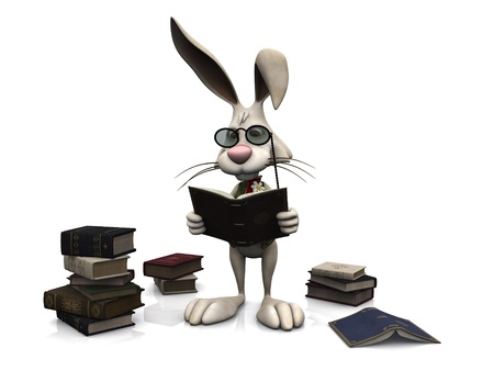 A cartoon rabbit wearing glasses and reading a book  He is surrounded by piles of books  White background Stock Photo - 13045906