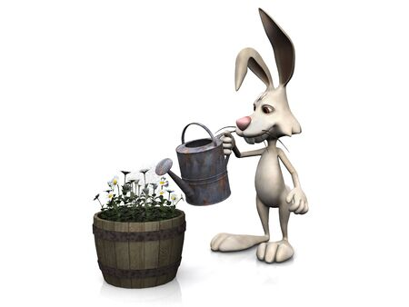A cartoon rabbit watering some flowers in a pot, doing some gardening. White background. photo