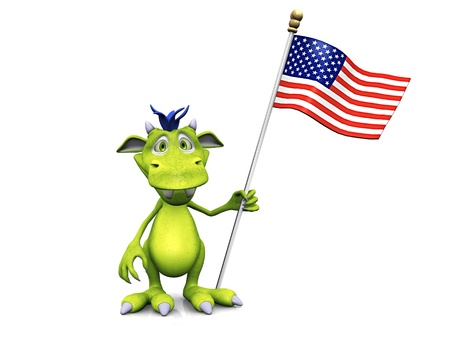 A cute friendly cartoon monster holding an American flag in his hand, celebrating 4th of July maybe  The monster is green with blue hair  White background  photo