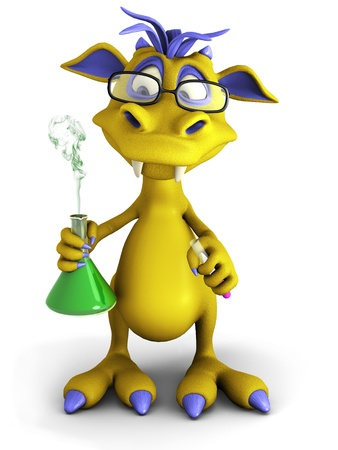 A cute cartoon monster wearing glasses and doing an experiment. He is holding a beaker with smoke coming out from it  Standard-Bild