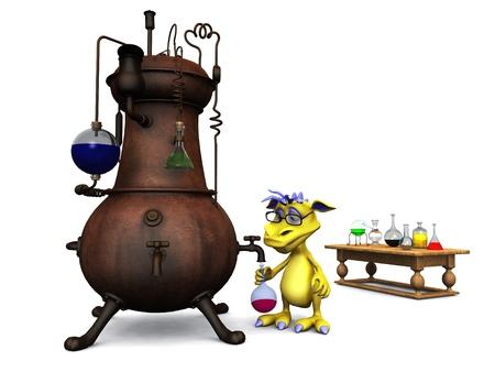 그의 화학 실험실 흰색 배경에서 작업 안경을 착용하는 귀여운 만화 괴물