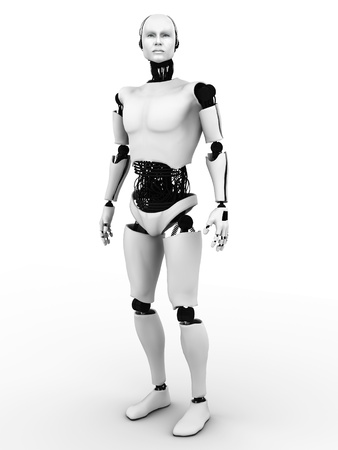 Male robot standing. White background.
