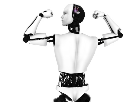 head and shoulder: Male robot doing a bodybuilding pose, flexing his muscles. White background.