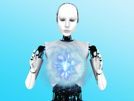 robot woman: A robot woman holding a glowing plasma sphere of energy between her hands.