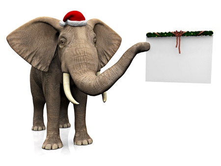 A big elephant holding a blank Christmas decorated sign in its trunk and wearing a Santa hat  White background