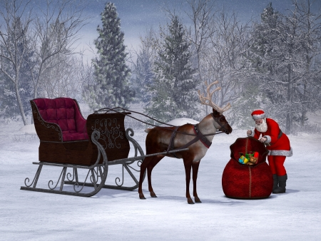 Santa packing his sack with his sleigh and reindeer beside him  The background is a beautiful snowy winter forest