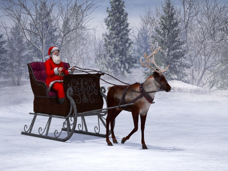 A reindeer pulling a sleigh with Santa Claus in it  The background is a beautiful snowy winter forest  photo