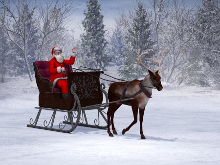 A reindeer pulling a sleigh with a smiling and waving Santa Claus in it  The background is a beautiful snowy winter forest  Stock Photo