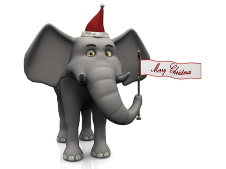 A cute cartoon elephant holding a flag with the words Merry Christmas on  White background