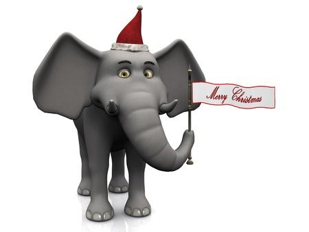 elephant cartoon: Un elefante cartone animato in mano una bandiera con il Buon parole di Natale su sfondo bianco