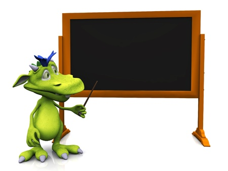 A cute cartoon monster pointing at an empty blackboard with a pointer  White background  photo