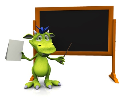 A cute cartoon monster standing in front of an empty blackboard with a pointer in one hand a some blank papers in the other  White background