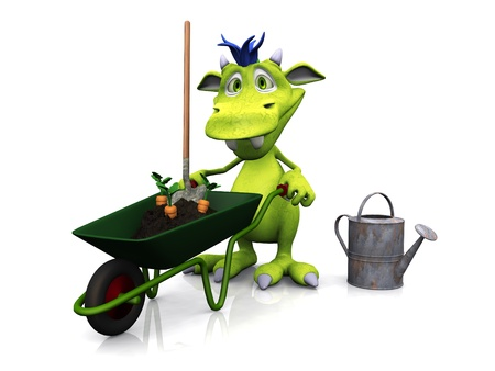 A cute cartoon monster holding a wheelbarrow full of soil and carrots, ready to do some gardening  White background  photo