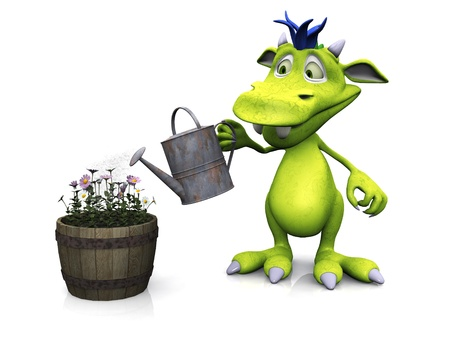 Cute cartoon monster watering some flowers in a pot, doing some gardening  White background  photo