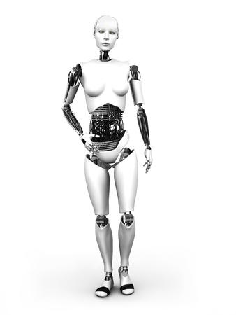 흰색 배경에 서있는 로봇 여자의 몸 전체 이미지 스톡 콘텐츠
