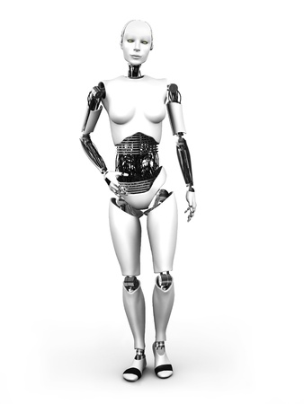 A full body image of a robot woman standing  White background