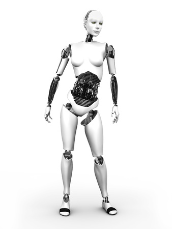 A full body image of a robot woman standing  White background  photo