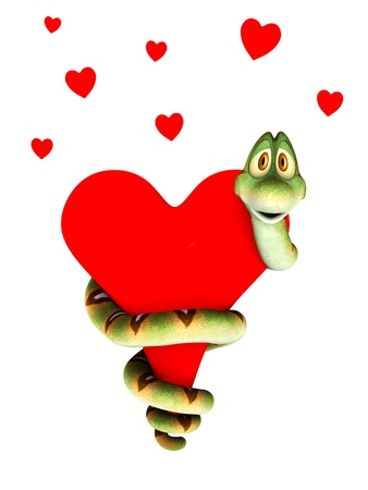 adder: A cute cartoon snake curling around a big red heart, cuddling it  Several small hearts above him  Isolated on white background