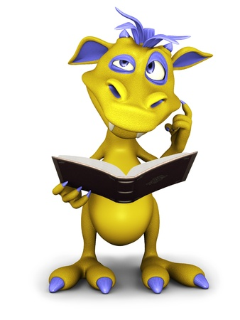 A cute cartoon monster reading a book and thinking about something, maybe a bit confused  White background  Stock Photo
