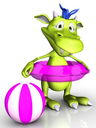 A cute cartoon monster wearing a pink bathing ring  A beach ball is beside him  White background