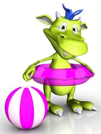 dragon swim: A cute cartoon monster wearing a pink bathing ring  A beach ball is beside him  White background