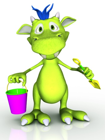 A cute cartoon monster holding a bucket and a spade Stock Photo - 19088271