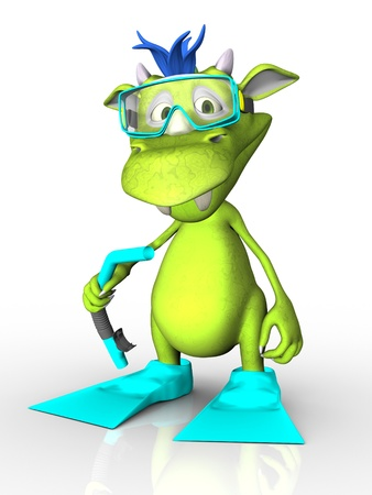 dragon swim: A cute cartoon monster wearing diving gear - a mask, snorkel and fins  White background  Stock Photo
