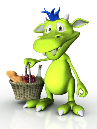 A cute cartoon monster holding a picnic basket in his hand  White background  photo
