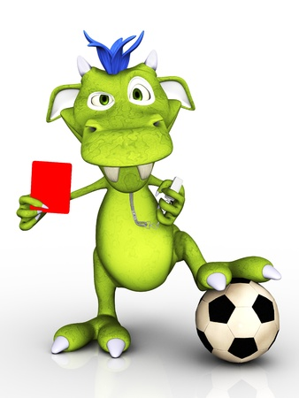 A cute cartoon monster acting as a soccer referee, holding up a red card  He looks a bit annoyed  White background  photo