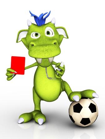 futbol soccer dibujos: Un monstruo de dibujos animados lindo que actúa como un árbitro de fútbol, ??sosteniendo una tarjeta roja que parece un poco molesto Fondo blanco