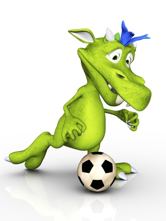 A cute cartoon monster playing soccer  White background  photo