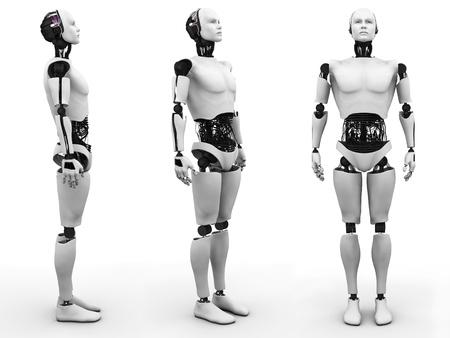 Homme robot debout, vue de celui-ci à partir de trois angles différents de fond blanc