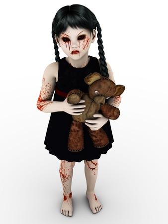 A gothic blood covered small girl. Zdjęcie Seryjne